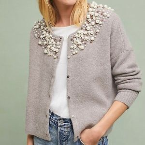 Anthropologie Moth Cardigan Sweater Pearl Accents